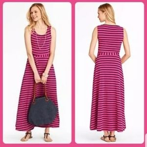 Talbots Pink w/ Blue stripes Sleeveless Maxi Dress